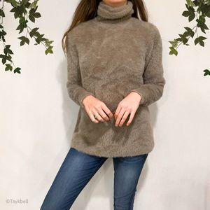 Zara Knit Fluffy Fuzzy faux Fur Turtleneck Sweater